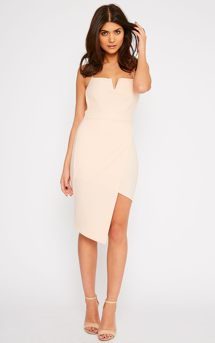 Raye Nude Cross Back Asymmetric Dress 3