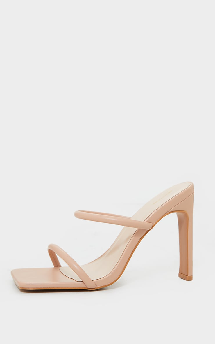 Nude PU Extreme Square Toe Twin Strap Mule High Heels 4