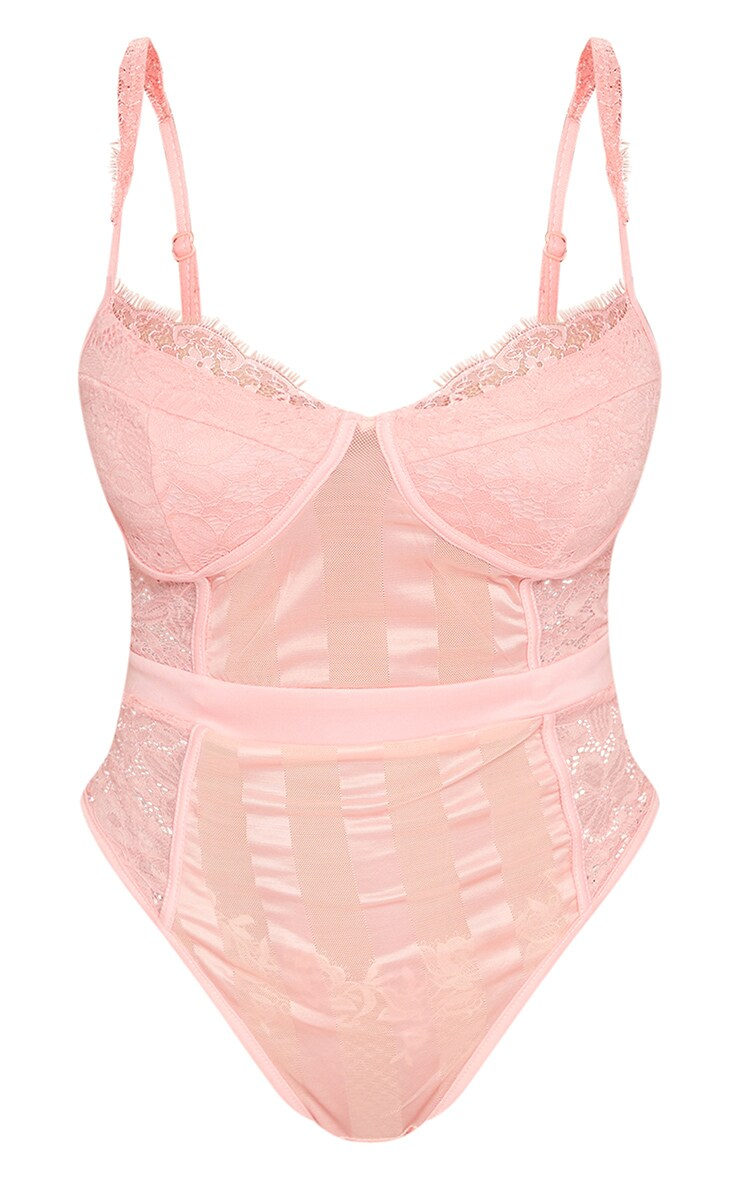 Shape Peach Lace Mesh Stripe Bodysuit 5