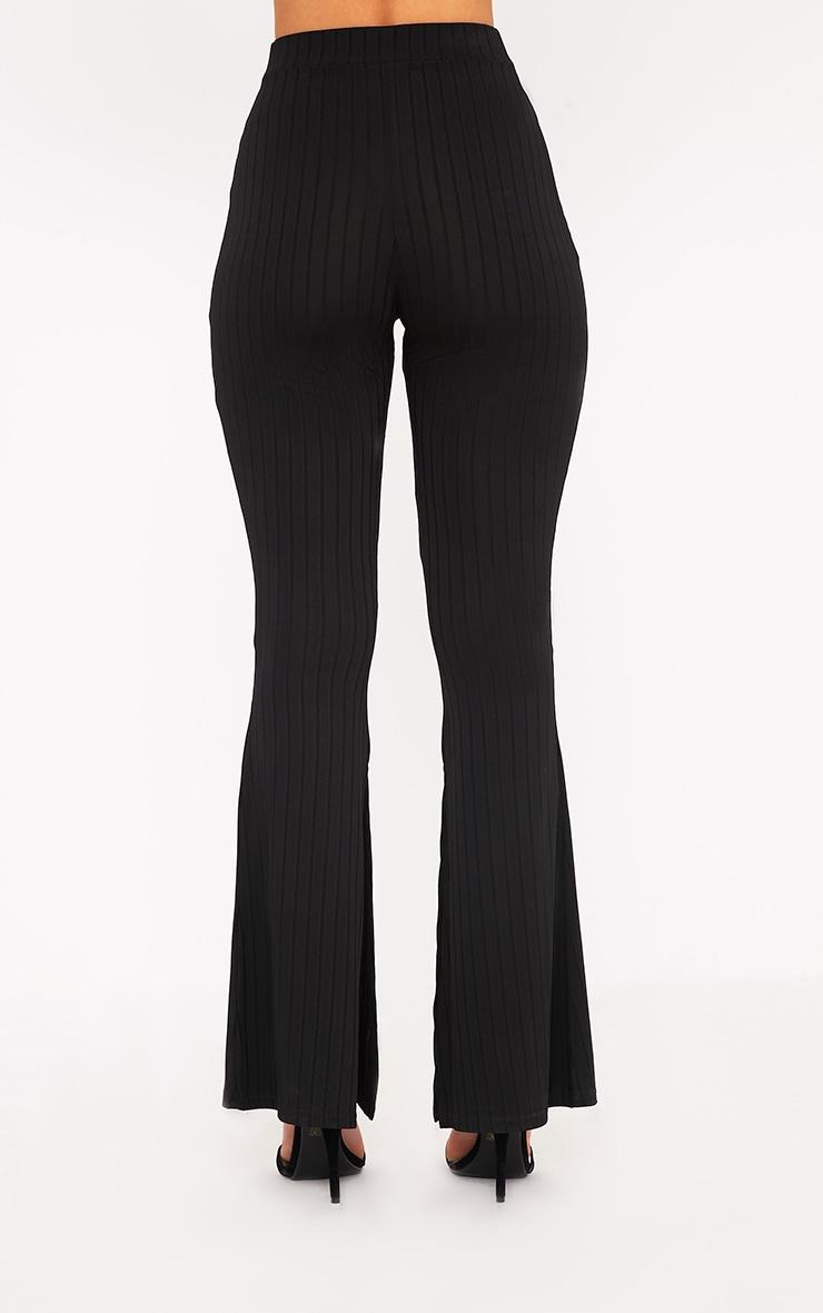 Soreya Black Ribbed Inside Split Wide Leg Trousers  4