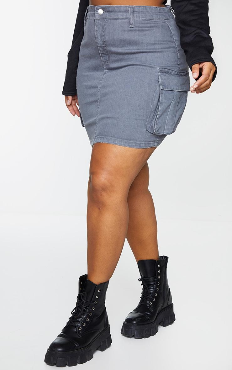Plus Grey Denim Cargo Pocket Skirt 2