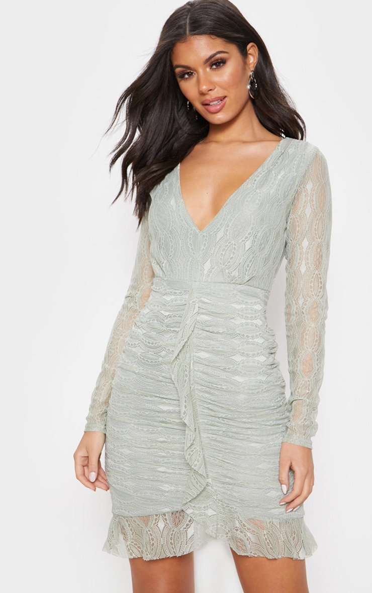 Sage Green Lace Ruched Front Frill Hem Bodycon Dress 1