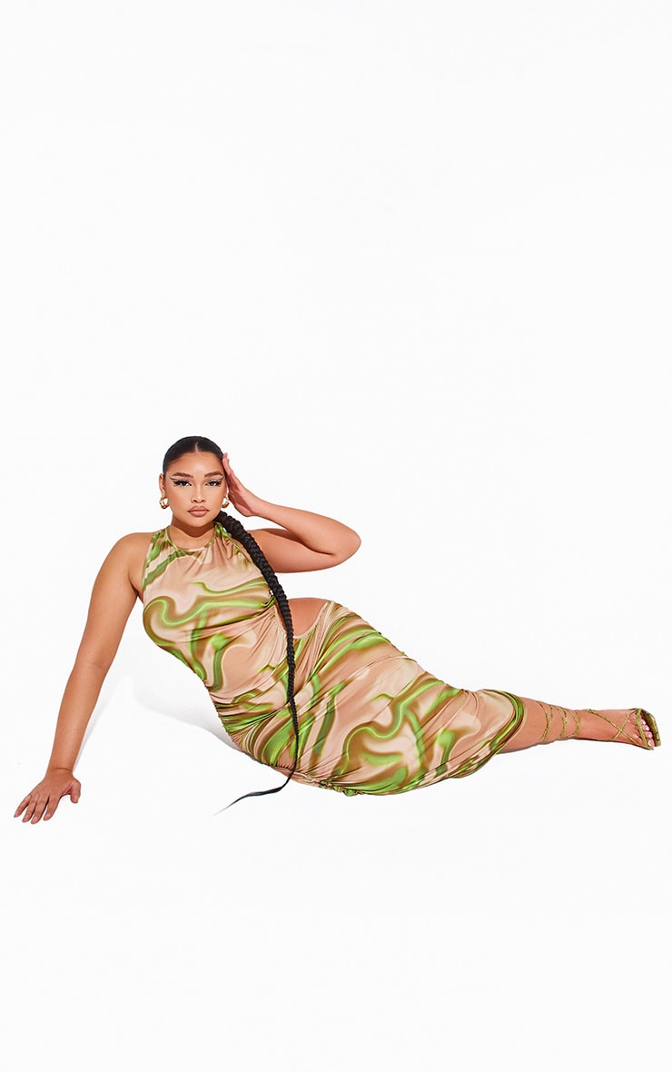 Plus Green Printed Ruched Cut Out Midi Dress 3