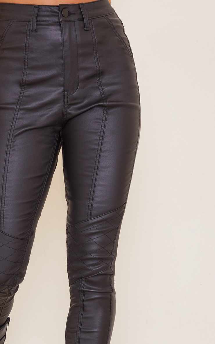 Petite Black Biker Coated Skinny Jeans 4