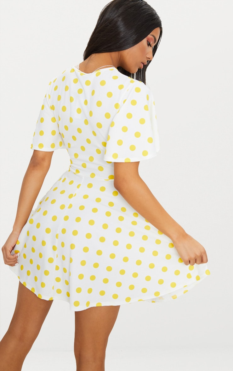 Yellow Polka Dot Cut Out Ruched Detail Swing Dress  2