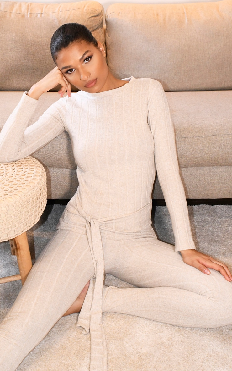 Oatmeal Knitted Wide Rib Belted Lounge Set image 1