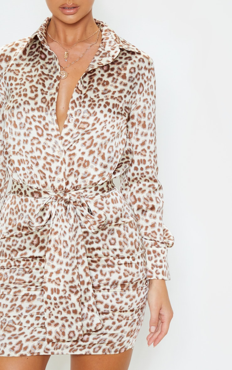 Beige Leopard Satin Ruched Shirt Dress 6