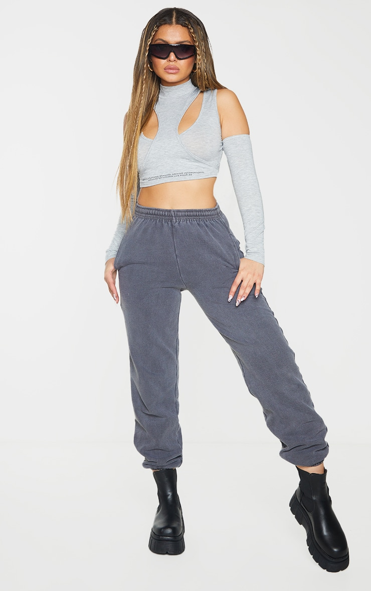 PRETTYLITTLETHING Grey Tape Cut Out Bardot Crop Top 3