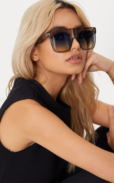 Grey Wide Frame Square Sunglasses