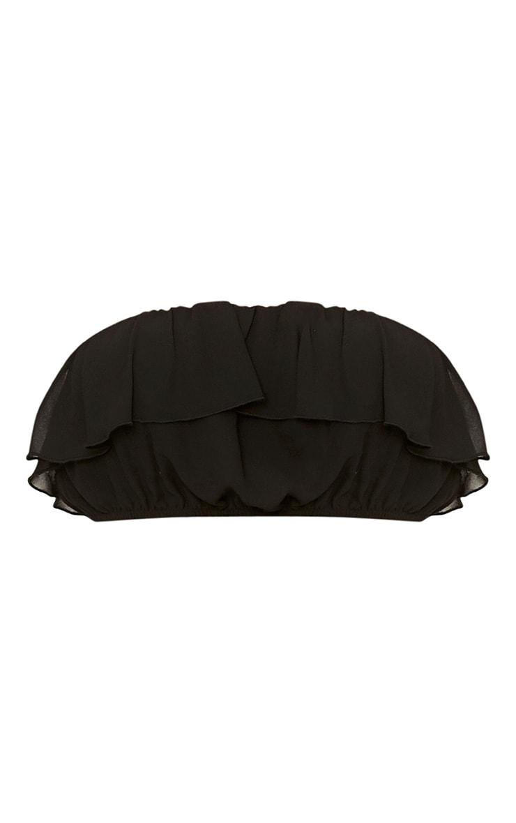 Poppey Black Ruffle Bardot Crop Top  2