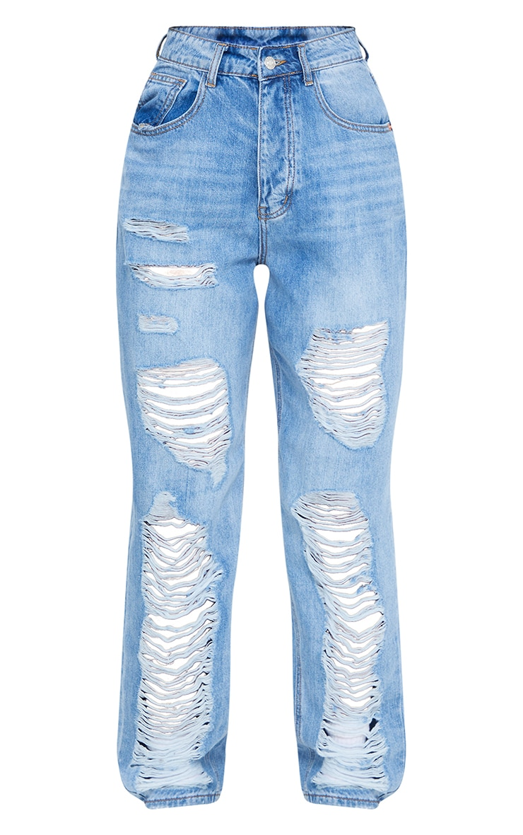 PRETTYLITTLETHING Light Wash Distressed Boyfriend Jean 5