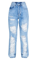 PRETTYLITTLETHING Light Wash Ripped Boyfriend Jeans 5