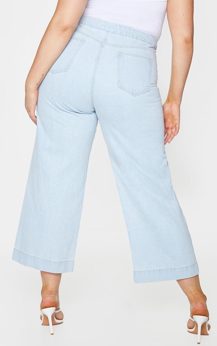 Plus Light Blue Washed Denim Culottes 3