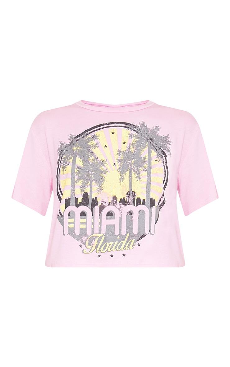 Miami Slogan Baby Pink Crop Top 3