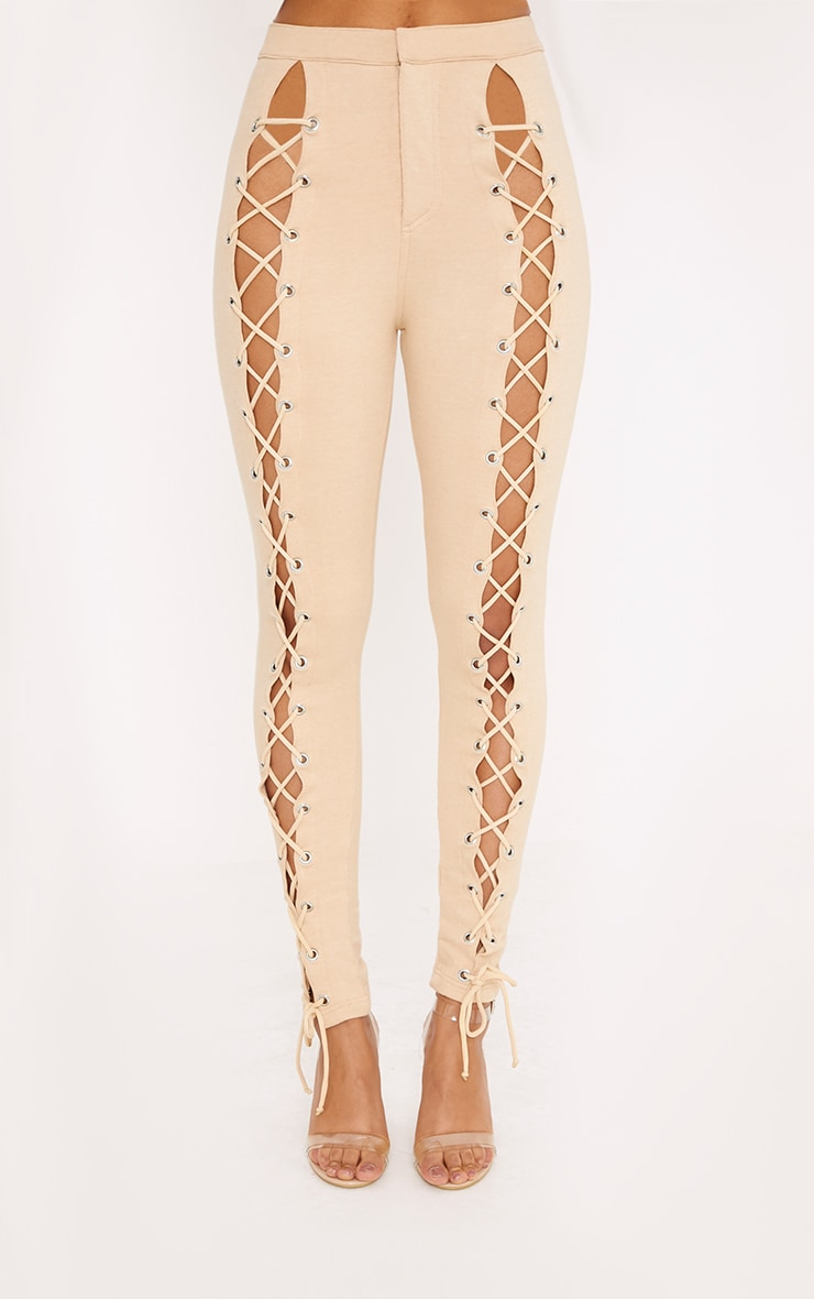 Lynda Stone Front Lace Up Skinny Trousers 2