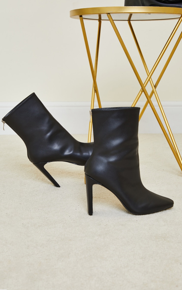 Black High Flat Heel Ankle Boots 3