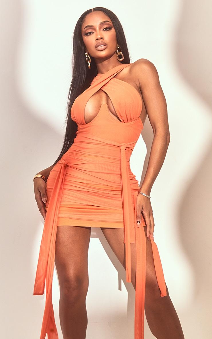 Shape - Robe moulante orange en mesh à liens autour du cou 3