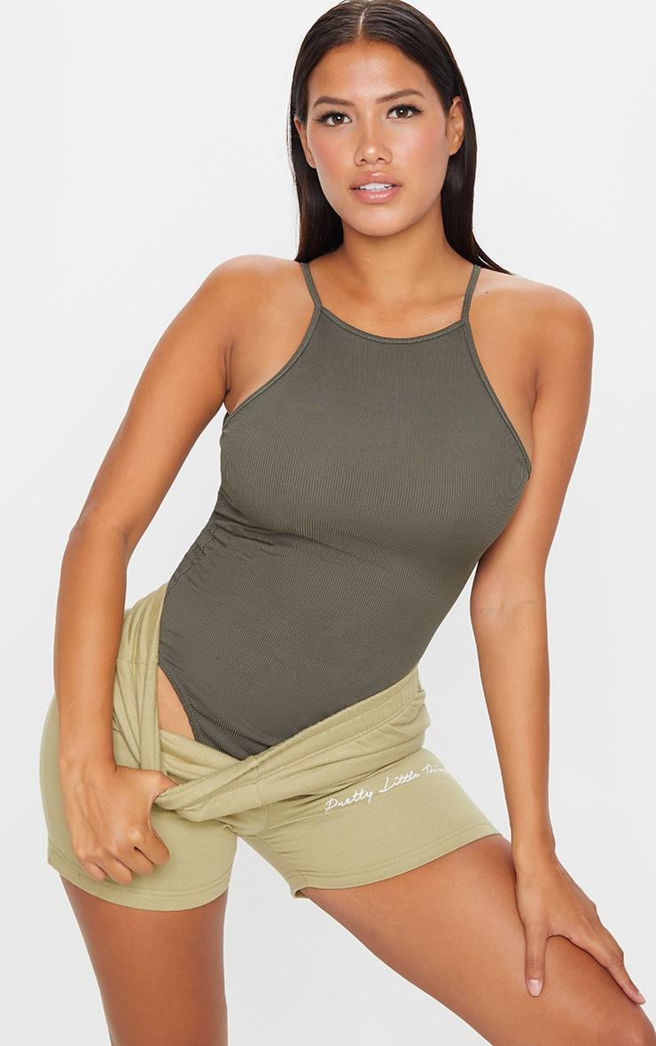 Shape Khaki Rib High Neck Basic Bodysuit 1