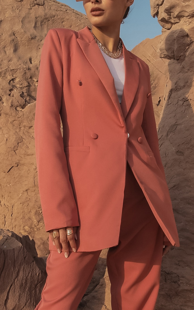 Deep Rose Double Breasted Woven Blazer 4