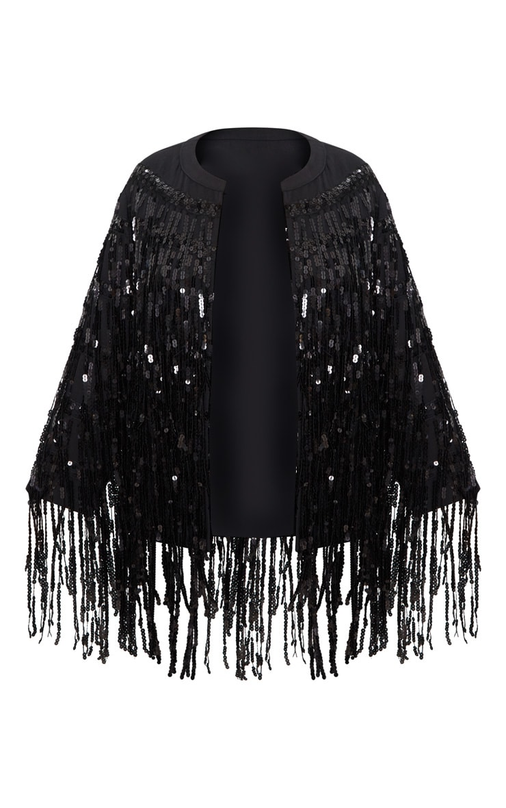 Plus Black Sequin Fringed Jacket 4