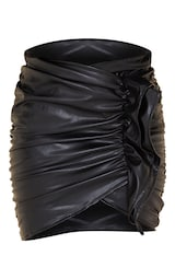 Black Detailed Faux Leather Ruched Mini Skirt 6