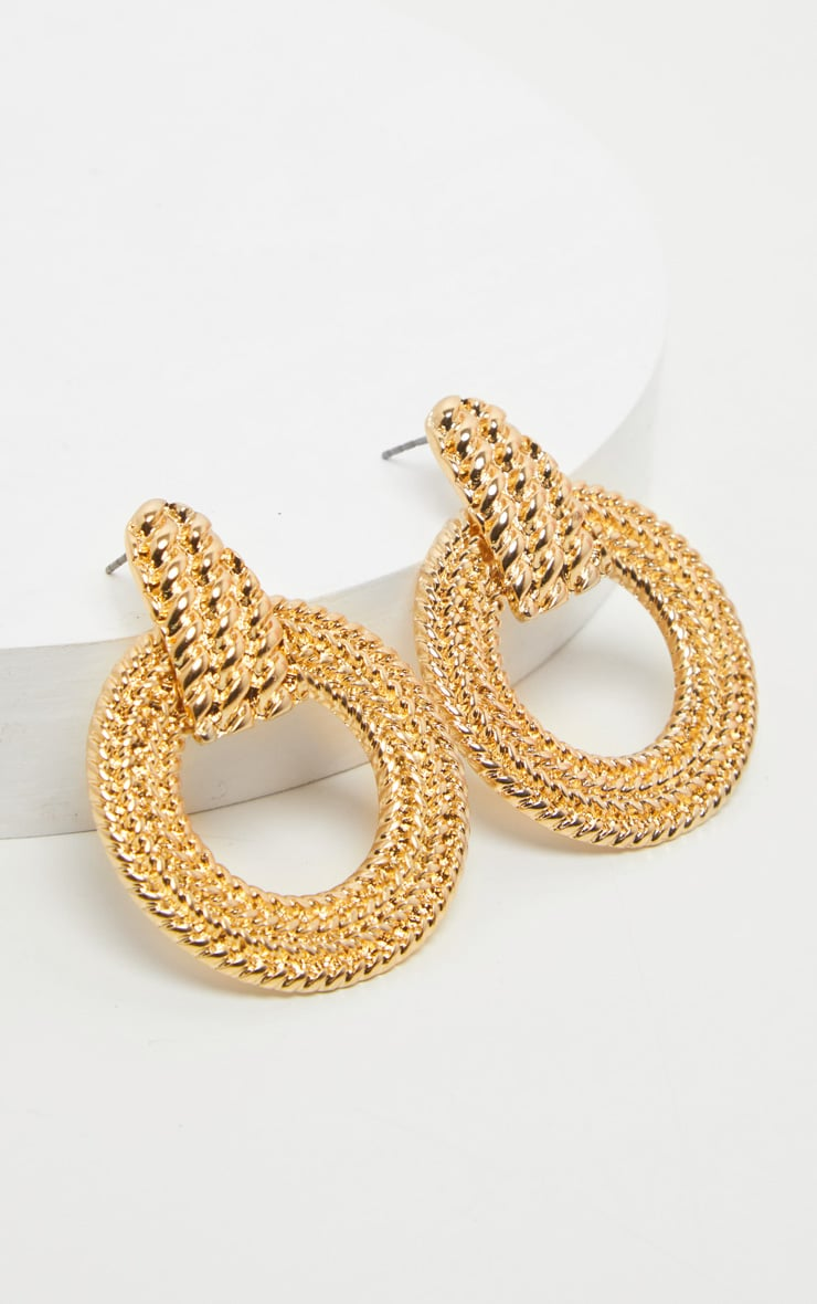 Gold Rope Effect Round Door Knocker Earrings 3