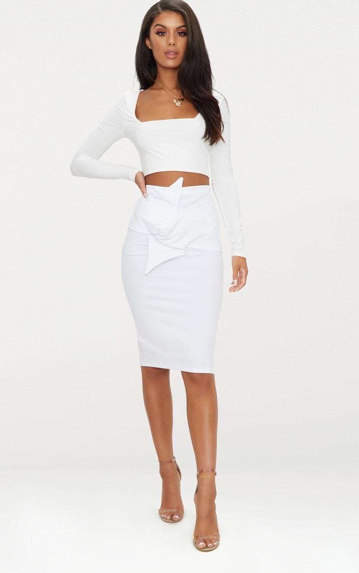 White Knot Detail Midi Skirt  1