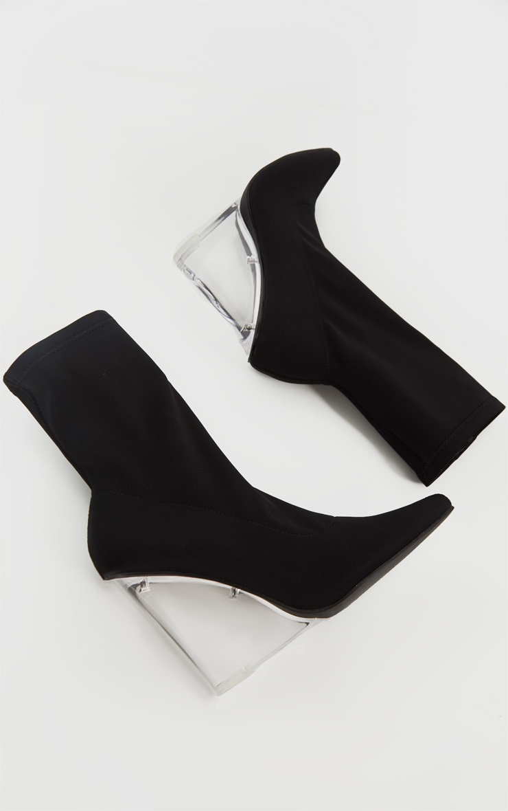 Black Clear Wedge Point Toe Sock Boot 3