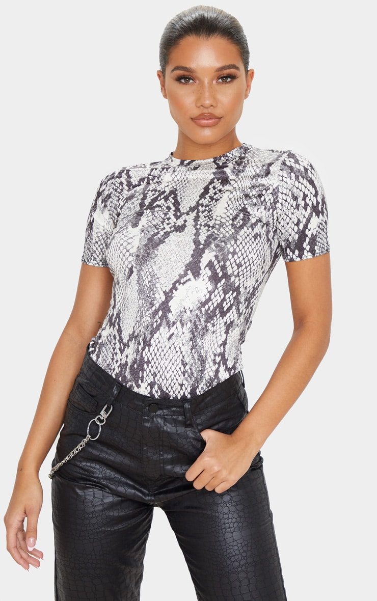 Grey Snake Printed Slinky Fitted T Shirt 1