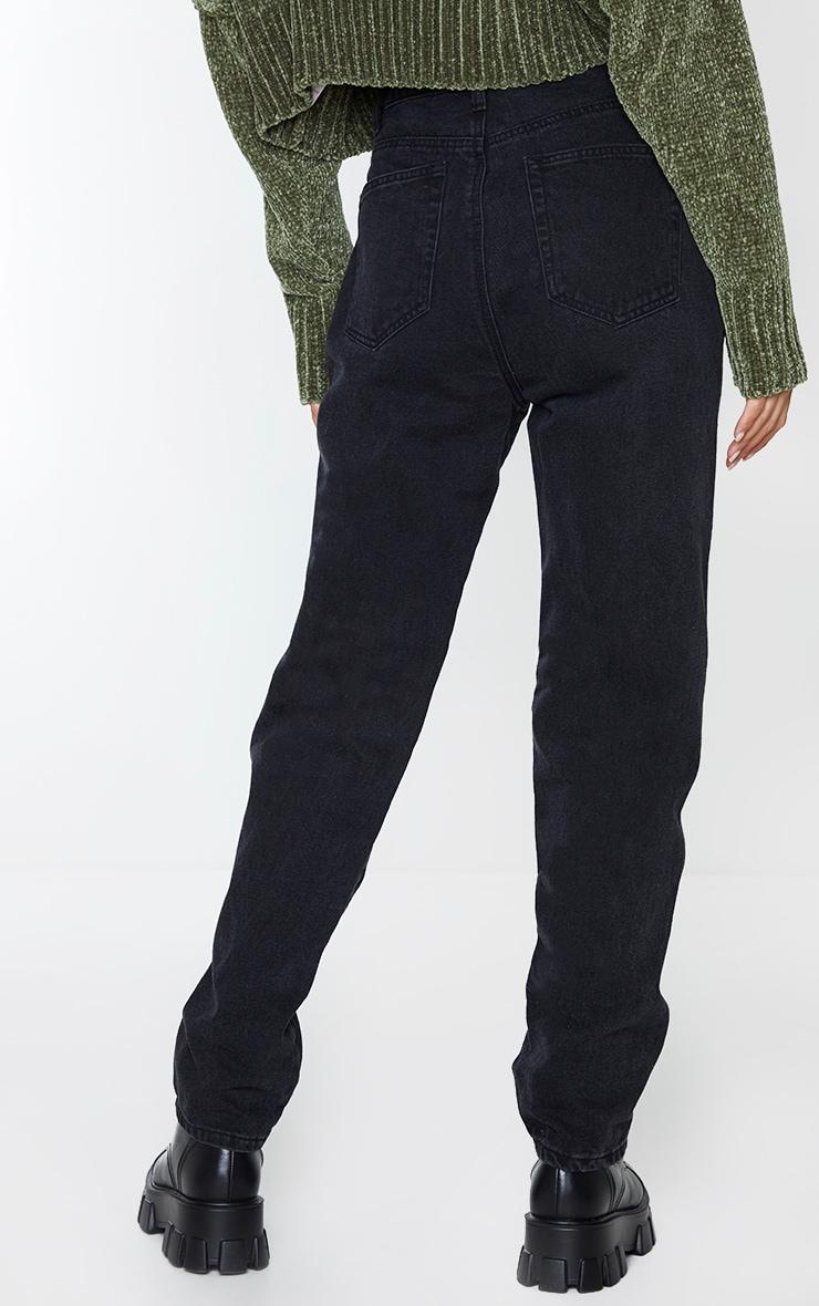 Jean droit délavé noir à détail poches et coutures sur l'avant 3