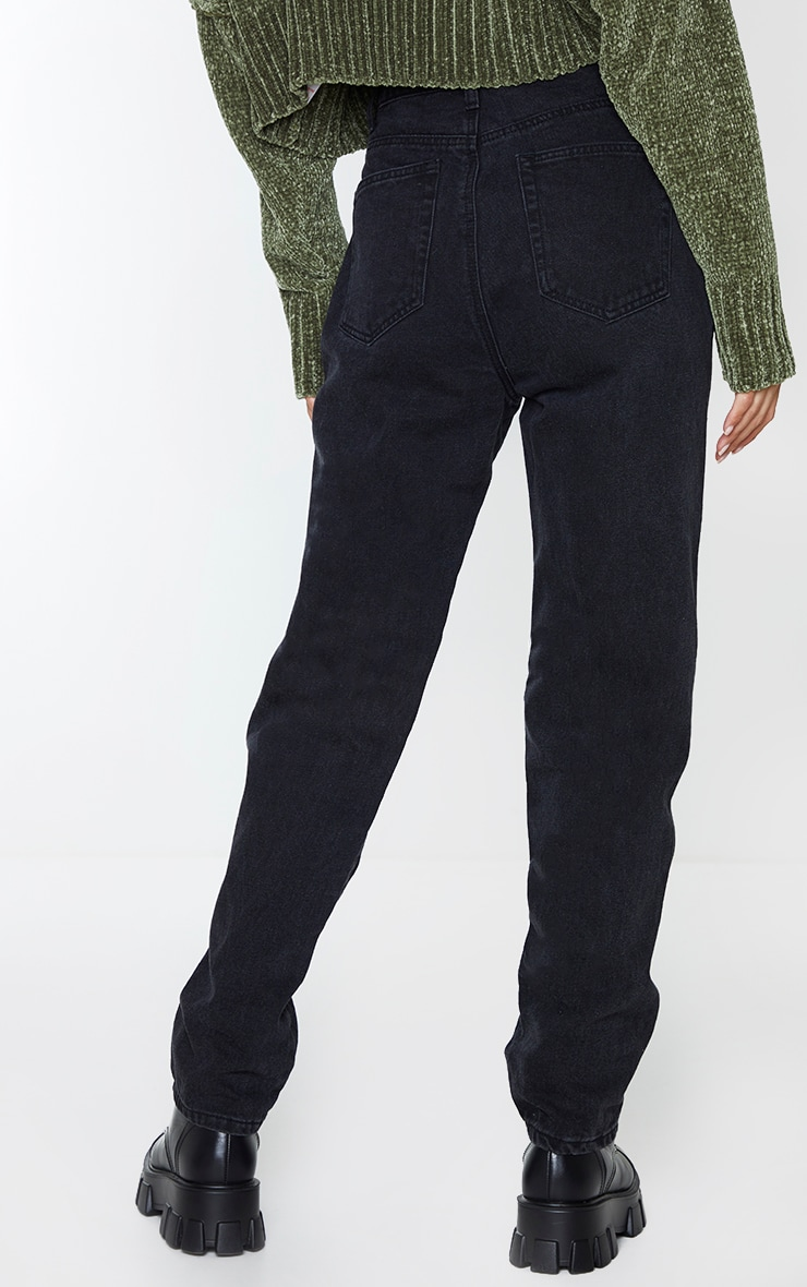 Washed Black Front Seam Pocket Detail Straight Leg Jeans 3
