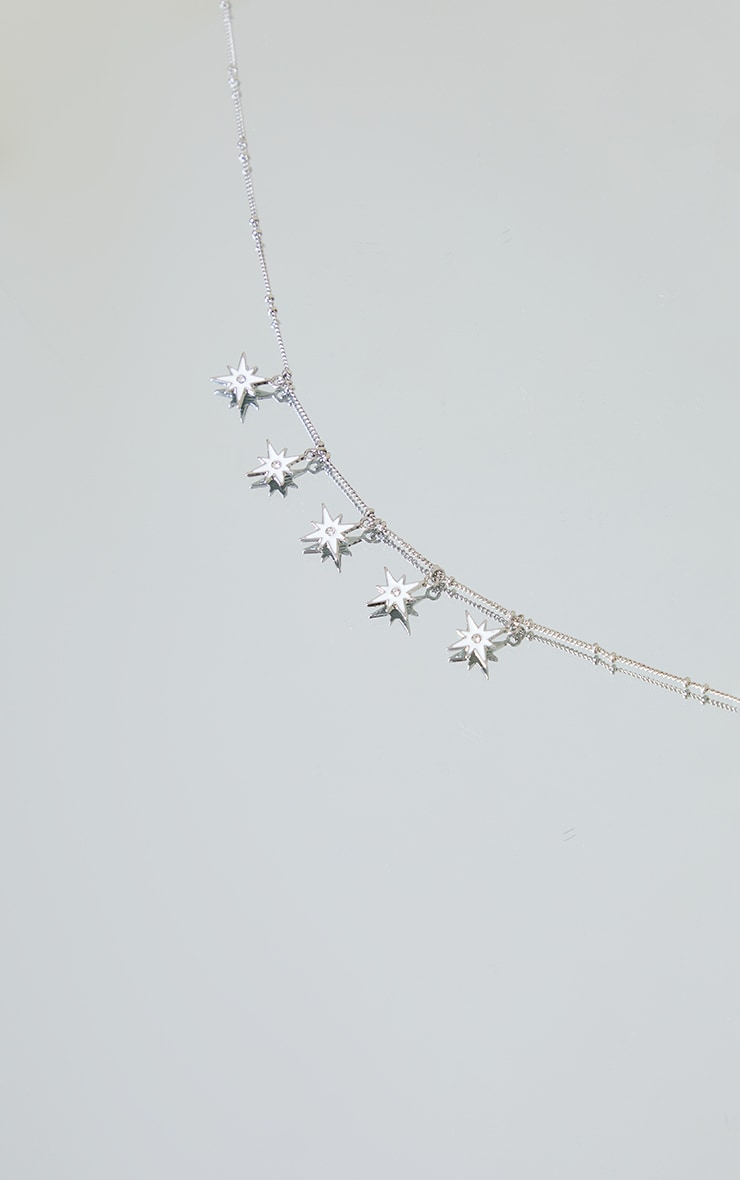 Silver Multi Star Charm Necklace 3