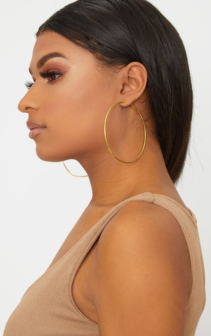 Gold 80mm Large Hoop Earrings 2