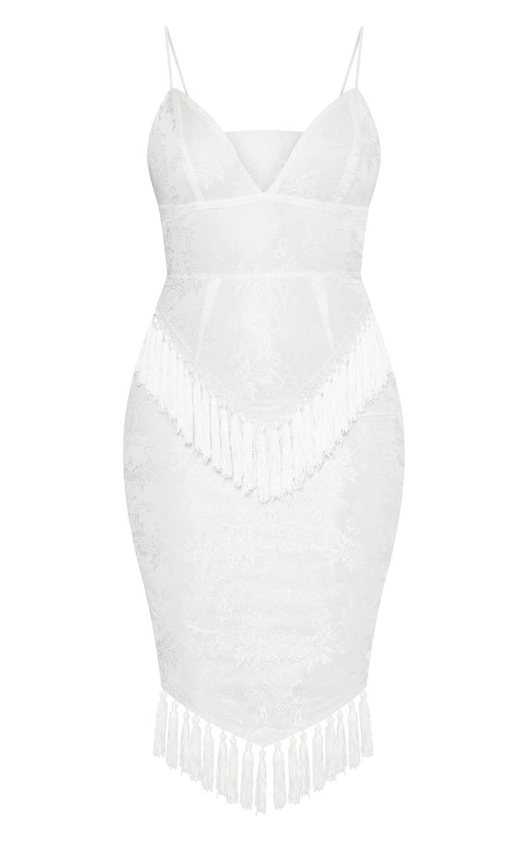 White Lace Tassel Trim Plunge Midi Dress 3
