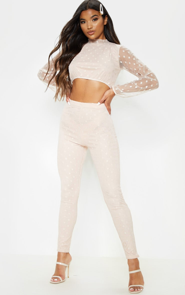 Nude Polka Dot Mesh Top & Pants Set 1