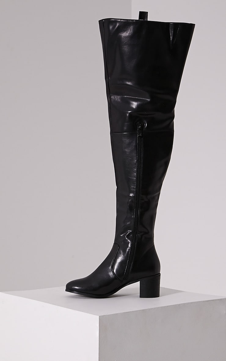 Cally Black Faux Leather Thigh High Over Knee Boots 4