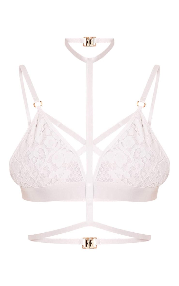 Kamilla White Harness Lace Bralet 3