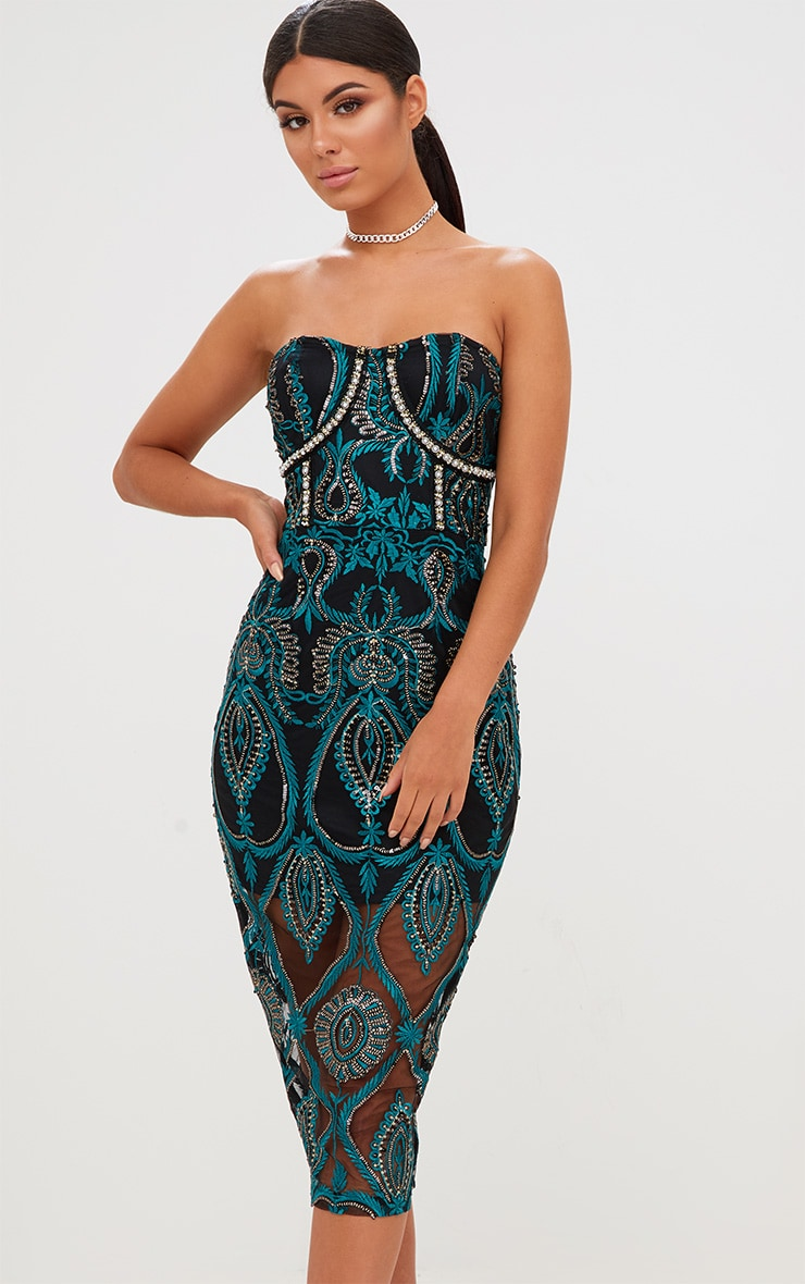 Premium Emerald Green Sequin Embroidered Bandeau Midi Dress 2