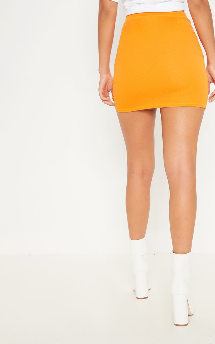 Hot Orange Ruche Detail Mini Skirt 4