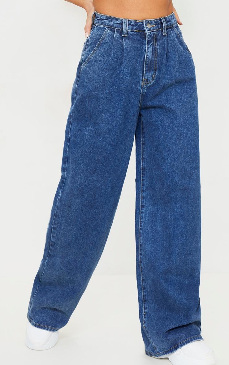 Dark Blue Wash Seam Detail Wide Leg Baggy Jeans 2