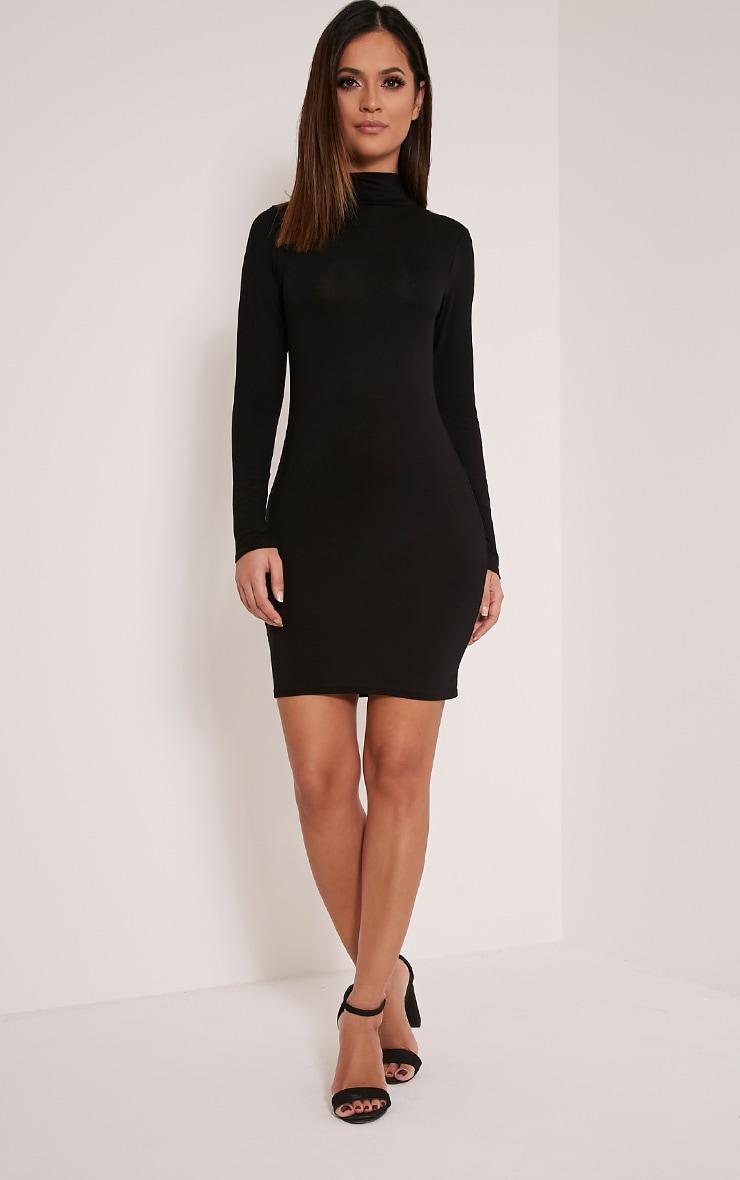Basic Black Long Sleeve Bodycon Dress 4