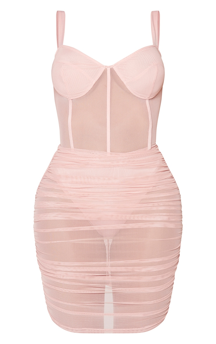 Shape Dusty Pink Mesh Cup Detail Binding Bodycon Dress 5