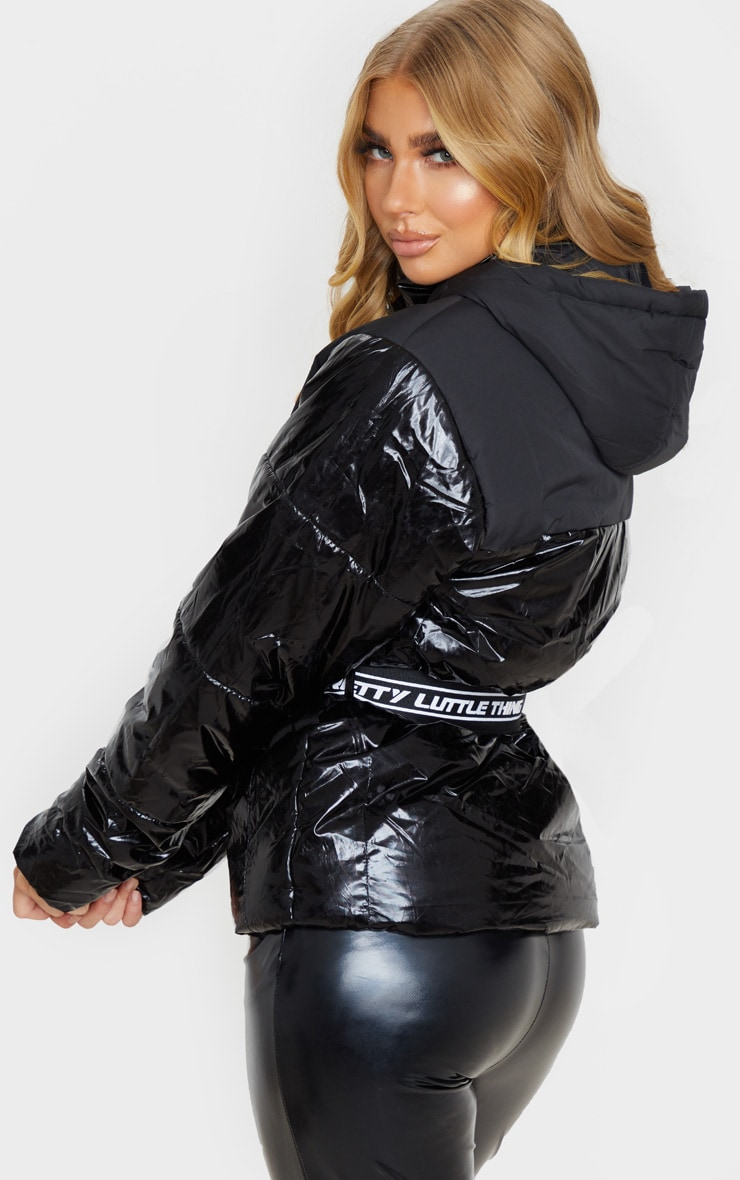 PRETTYLITTLETHING Black Metallic Contrast Panel Puffer Jacket 2