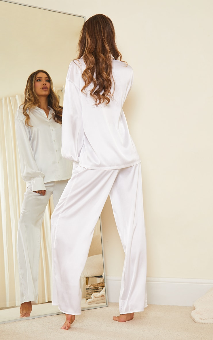 Ivory Oversized Long Satin Pj Set 2