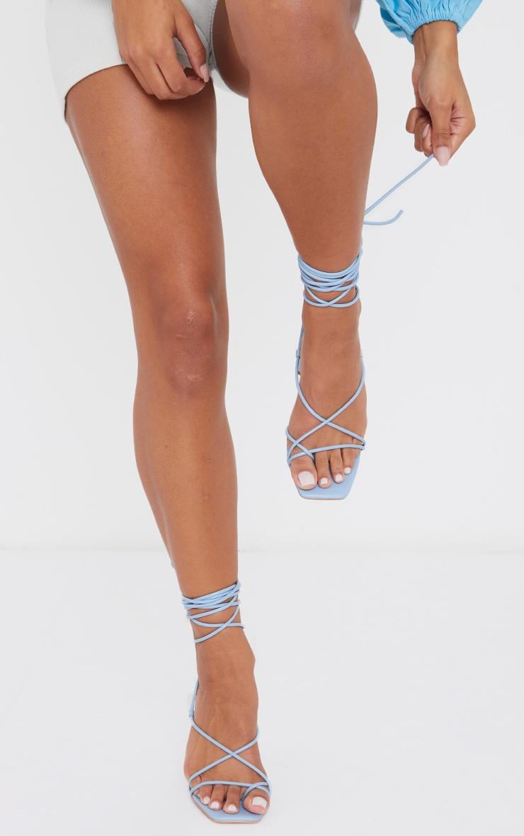 Blue Toe Loop Lace Up Square High Block Heels 2