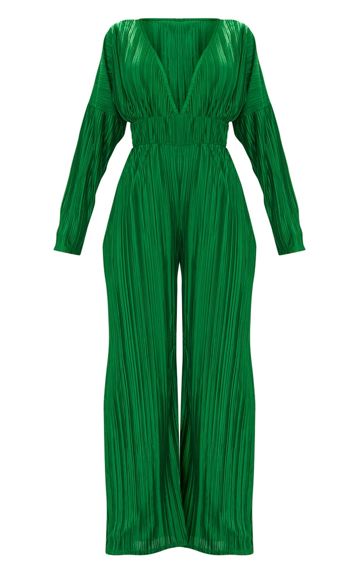 Emerald Green Long Sleeve Pleated Jumpsuit 3