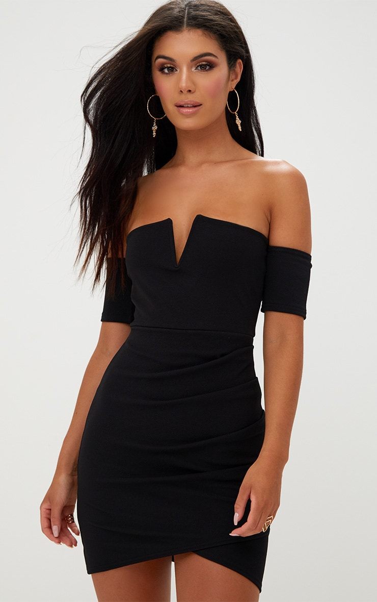 Black Bardot Wrap Front Bodycon Dress