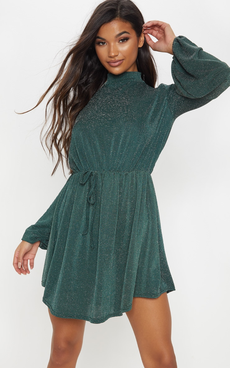 Green Glitter Balloon Sleeve Tie Waist Skater Dress 1