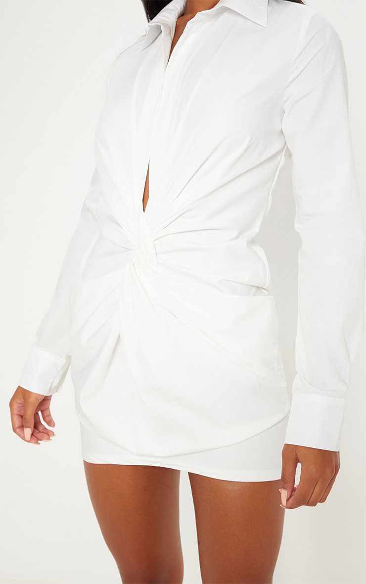 White Plunge Knot Detail Shirt Dress 5