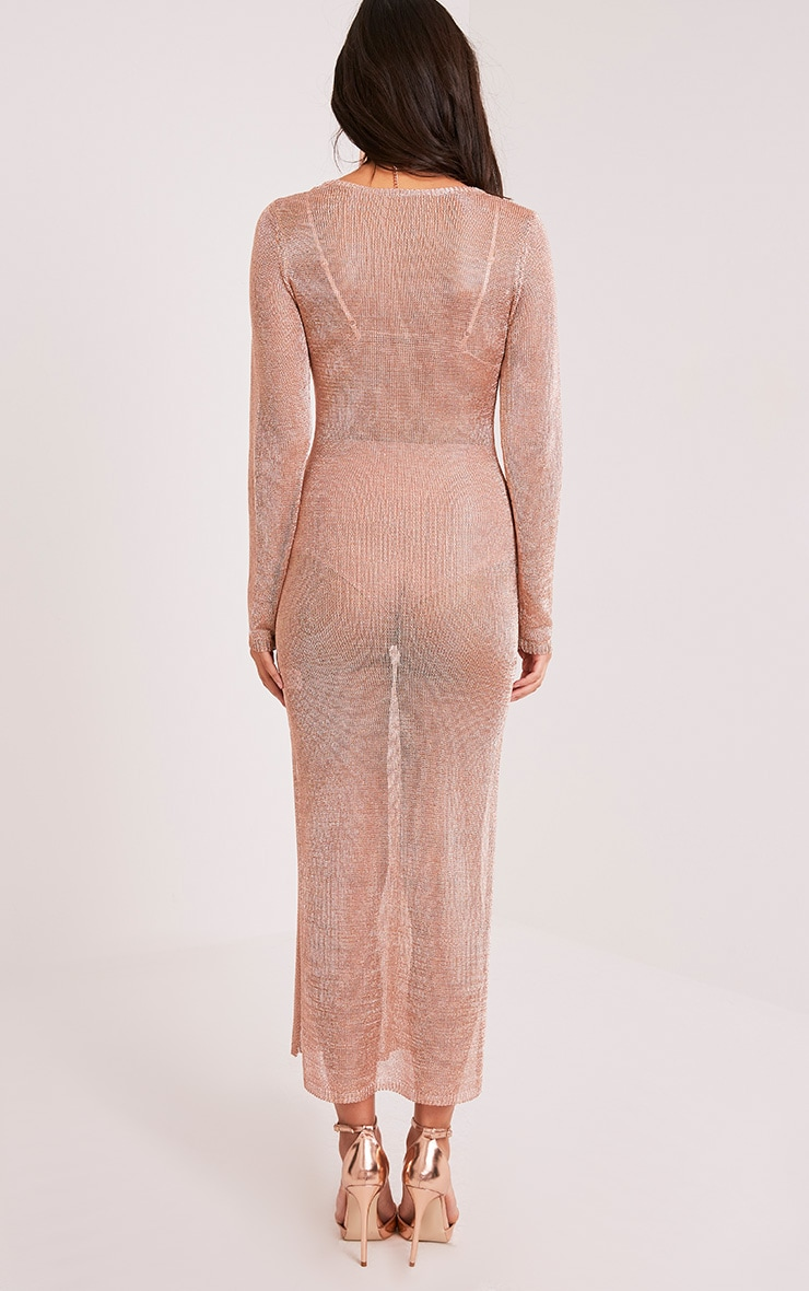 Jacomina Rose Gold Metallic Knitted Midi Dress ...